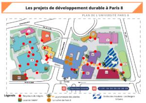 Plan de l'Université Paris 8 enrichi des projets de DD